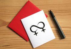 Lesbian Card Lesbian Wedding Invitation Lesbian by Sabastica