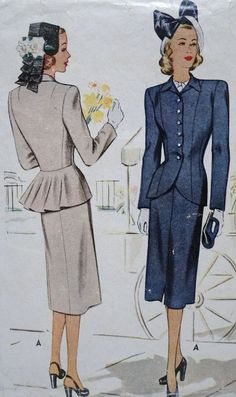 Vtg 1940s Sewing Pattern, MCCALL #6800, Women's 2 pc Suit, Jacket, Skirt, 16/34