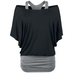 Bat shirt in double layer-look with wide neckline and gathered side seam. The contrast-coloured racerback top is attached to the shirt.