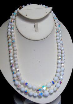 Vintage Adj Length Double Strand Aurora Borealis Facet Milk Glass Bead Necklace #UnsignedBeauty #DoubleStrandwithAdjustableLengthNecklace