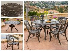 Patio-Furniture-Set-Outdoor-Garden-Deck-5-PC-Dining-Round-Aluminum-Table-Chairs