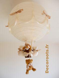 lampe montgolfière bébé enfant ours beige