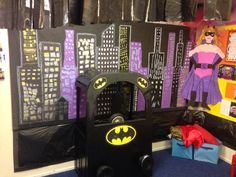 Superheroes role play area! Superhero Classroom Theme, Classroom Themes, Superhero Ideas, Traction Man, Role Play Areas, School Displays, Dramatic Play, Eyfs, Pretend Play