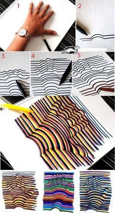 Learn how to draw a Hand Illusion. Super easy and a fun craft for kids! Learn how to draw a Hand Illusion. Super easy and a fun craft for kids! Crafts To Do, Crafts For Kids, Paper Crafts, Room Crafts, Daycare Crafts, Summer Crafts, Summer Fun, Diy Crafts For 8 Year Olds, Crafts For Rainy Days