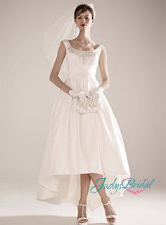 JOL119 Simple vintage high low ankle length wedding dress with scoop neckline and embroidery