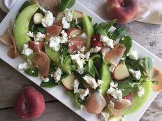 Sunny salad met geitenkaas, meloen en wilde perzik - beaufood