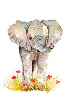 Elephant Illustration Painting - Elephant - Watercolor Art Print set in mount- , animal,mod Watercolor Drawing, Watercolor Animals, Elephant Watercolor, Watercolor Paintings, Original Paintings, Abstract Paintings, Art Paintings, Elephant Love, Elephant Art