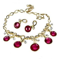 18K Yellow Gold Plated Jewelry Set Necklace Earring Fuschia Stone