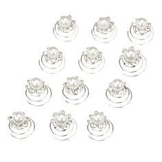 Faux Pearl Center Rhinestone Flower Bridal Wedding Hair Twisters Pack of 12 *** Check this awesome product by going to the link at the image. (This is an affiliate link) Bridal Hair Flowers, Bridal Hair Pins, Flower Hair, Twist Hairstyles, Wedding Hairstyles, Hair Twisters, Crystal Flower, Styling Tools, Bridal Accessories