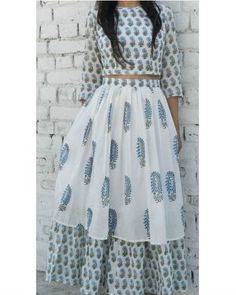 Shop online Block printed crop top and skirt set Mal mal cotton block printed crop top and skirt set in blue and white Lehenga Designs, Kurta Designs, Blouse Designs, Blouse Styles, Indian Gowns, Indian Attire, Indian Wear, Indian Outfits, Indian Designer Wear