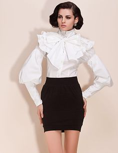 39a2e06d7960d TS Detachable Lotus Leaf Collar Waist Bodysuit Blouse Shirt