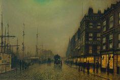 Liverpool Quay by Moonlight (1887) by John Atkinson Grimshaw (b. 6 September 1836; Leeds, England – d. 13 October 1893; Leeds, England) Oil paint on canvas, 610 × 914 mm. Room 1840, Tate Britain, London https://en.wikipedia.org/wiki/John_Atkinson_Grimshaw