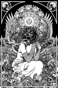 Oh look, Insanity Wolf has a new 'do!  lucyphermann:    Florian Bertmer  Florian Bertmer is a German illustrator from the hardcore punk, grindcore and metal scene. He has done artwork for Converge, Napalm Death, The Hope Conspiracy, The Dillinger Escape Plan, Agoraphobic Nosebleed, Pig Destroyer, Doomriders and others. His early works are reminiscent of Pushead while later works have become more Art Nouveau influenced. He fronted the band Cheerleaders Of The Apocalypse.  Artwork for Converge…
