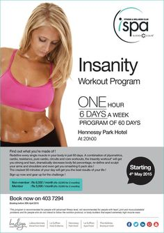 Indigo Hotels - Insanity Workout Program at I Spa. Info: 403 7294