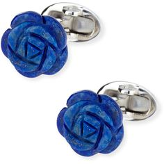 Jan Leslie Lapis Carved Rose Cuff Links (£275) ❤ liked on Polyvore featuring jewelry, earrings, blue, rose jewelry, blue rose jewelry, jan leslie, blue jewelry and carved jewelry