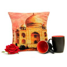 Tajmahal Cushion Mug N Rose Valentine Gifts For Girlfriend, Boyfriend Gifts, Cushions, Mugs, Rose, Throw Pillows, Toss Pillows, Pink, Bf Gifts