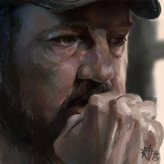 Supernatural Crossovers — Our fan art obsession Bobby Singer study by. Supernatural Drawings, Supernatural Fan Art, Bobby Singer Supernatural, Supernatural Crossover, Freaking Awesome, Stupid, Fanart, Painting, Painting Art