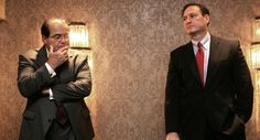 U.S. Supreme Court Associate Justices Samuel Alito, right, and Antonin Scalia after a panel discussion on
