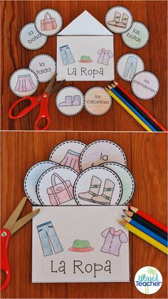 Spanish Clothing Interactive Notebook Activity or Game Spanish Interactive Notebook: Clothing. Practice la ropa vocabulary or play games with this hands-on resource. Preschool Spanish, Spanish Lessons For Kids, Learning Spanish For Kids, Spanish Games, Spanish Worksheets, Spanish Lesson Plans, Spanish Basics, Elementary Spanish, Spanish Activities