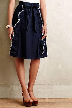 Blue Ribbon Denim Skirt - anthropologie.com