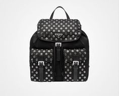 New Arrival!Prada 2016 Runway Travel Bags Cheap Sale -Prada Fabric Backpack with Grommet Details