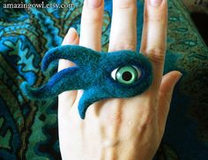 Watching You  Mysterious Mad Eye Ring  Custom Made by amazingowl