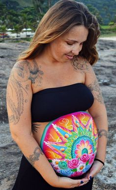 Bright colours belly paint