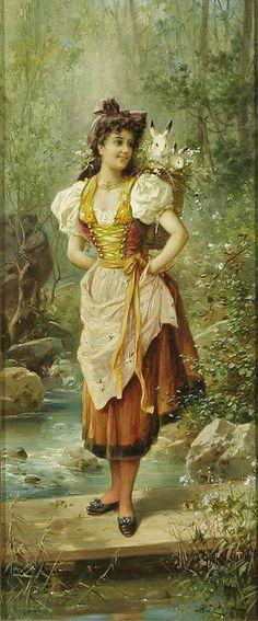 """HANS ZATZKA """"Girls in Native Dress"""","""