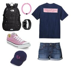 """""""School outfit #1"""" by jennagj on Polyvore featuring The North Face, Joe's Jeans, Converse and Vineyard Vines"""