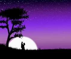 Love surrounded by moon. Beginner painting idea with couple embracing silhouette and purple sky.