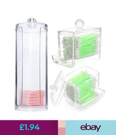 Make-Up Cases & Bags Clear Acrylic Make Up Cotton Pads Swab Box Case Holder Cosmetic Organizert #ebay #Fashion