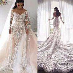 Wedding Gown With Removable Train Looks - luxury detachable train wedding dresses removable bridal gowns mermaid blush pink 2019 full lace long sleeve off the shoulder wedding dress wedding Blush Pink Wedding Dress, Top Wedding Dresses, Wedding Dress Train, Stunning Wedding Dresses, Lace Mermaid Wedding Dress, Event Dresses, Mermaid Dresses, Ball Dresses, Bridal Dresses