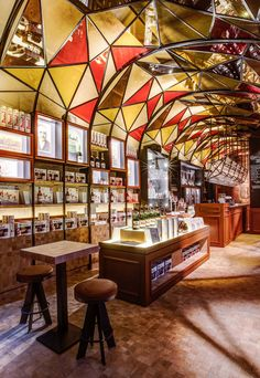 Too Many Agencies - Duvelorium << Interior Design - Branding - Graphic Design - Pub - Restaurant - Stained glass - Glazed dome - Ceiling glazed construction - Cubic shelfs - Wooden cubic mosaic - Wooden floor - Leather bar counter - Bar stool >>