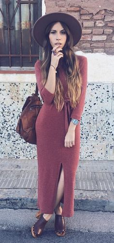 #winter #outfits brown long-sleeved maxi dress