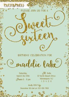 Sweet sixteen invitation tiffany and gold glitter pink mint peach sweet sixteen invitation tiffany and gold glitter pink mint peach sweet 16 invitation girl birthd teen birthday invitations pinterest sweet sixteen solutioingenieria Image collections