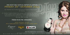 DJ TapTap, the International Queen of the Turntables will be perform at our rooftop L'Appart on Friday 25th October 2013 from 09:00 pm onwards. Entry Fee THB 700 net with complimentary 2 drinks of Grey Goose Vodka.