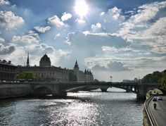Sunny day on the Seine in Paris