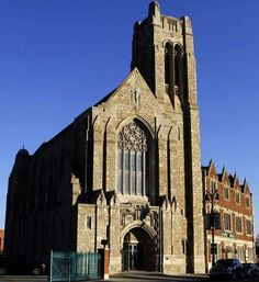 Early morning light hits the church at Historic Trinity Lutheran. Source - Detroit Free Press - Construction of this church started at the beginning of 1929, and was complete in 1931.