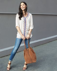Easy, breezy, boho. Pull on a peasant tunic to look instantly pulled-together. #trendalert