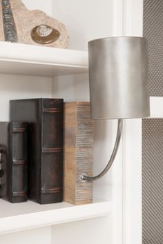 LIVING ROOM - Arteriors Sconce in Custom Designed Bookcase; Liepold Design Group LLC