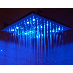12 Inch Square Multi Color LED Rain Forest Shower Head