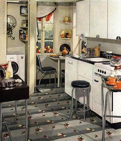 Kitchen featuring Armstrong linoleum (1939).