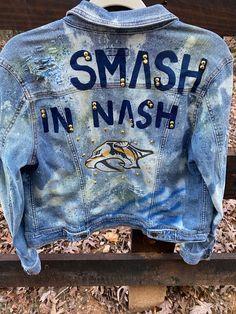 Smash In Nash Denim   Etsy Hockey Outfits, Hand Painted, Denim, Etsy, Jeans