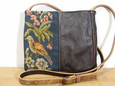 Small Cross Body Vintage Needlepoint, Brown Leather and Green Army Canvas Bag / Purse. Handmade and Upcycled Vintage Textile Crossbody Bag This is a great cross-body purse made of reclaimed/upcycled materials. This small bag is the perfect size for holding your essentials in comfort and