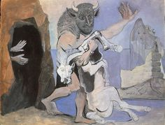 """Pablo Picasso - """"Minotaur and mare died before a cave facing an au veil"""". 1936"""