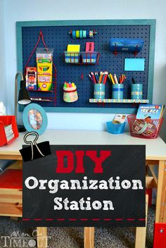 DIY Organization Station - Time to get those desks organized for school!  This easy project will have you organized in no time! | MomOnTimeout.com #b2s #organization #kids #BTSExpressions #ad