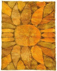 Ritva Puotila for Oy Finnrya - Auringon Kukka Rya Rug - Textiles, Rya Rug, Mid Century Art, Mid Century Modern Furniture, Furniture Styles, Rug Hooking, Persian Rug, Floor Rugs, Handmade Rugs