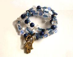 #Wrap #bracelet #necklace  Blue necklace #Hamsa #Fatima #hand #charm by #GrandmasDowry,