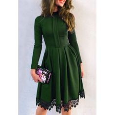 $14.49 Noble Round Collar Lace Hem Long Sleeve Ruffled Dress For Women