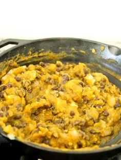 Preparing the mixture for ButternutSquash Black Bean Enchiladas recipe--ingredients mixed together in pan Butternut Squash Enchiladas, Black Bean Enchiladas, Vegetarian Enchiladas, Recipe Ingredients, Enchilada Recipes, Black Beans, Macaroni And Cheese, Vegetarian Recipes, Curry